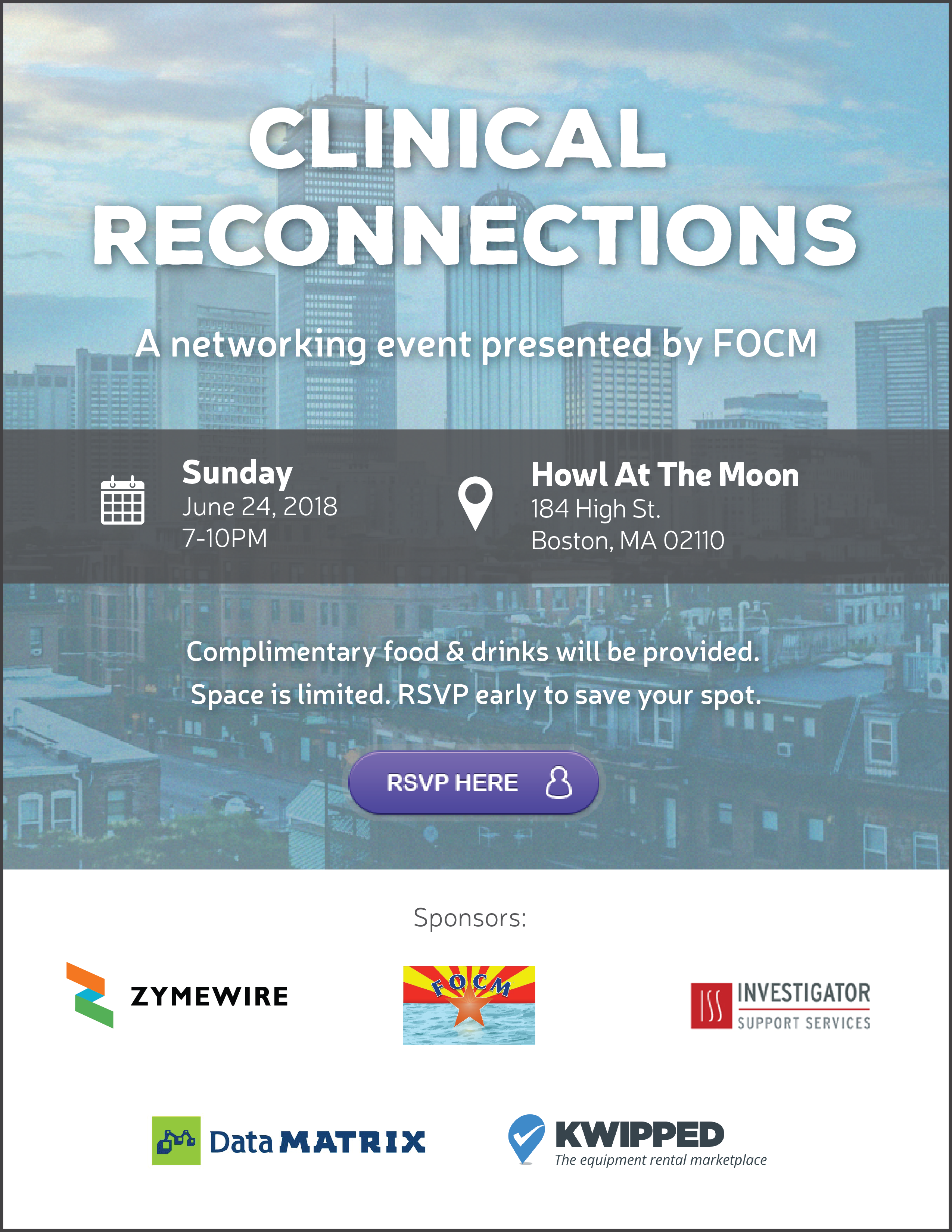 Infographic invitation for Clinical Reconnections event at DIA 2018