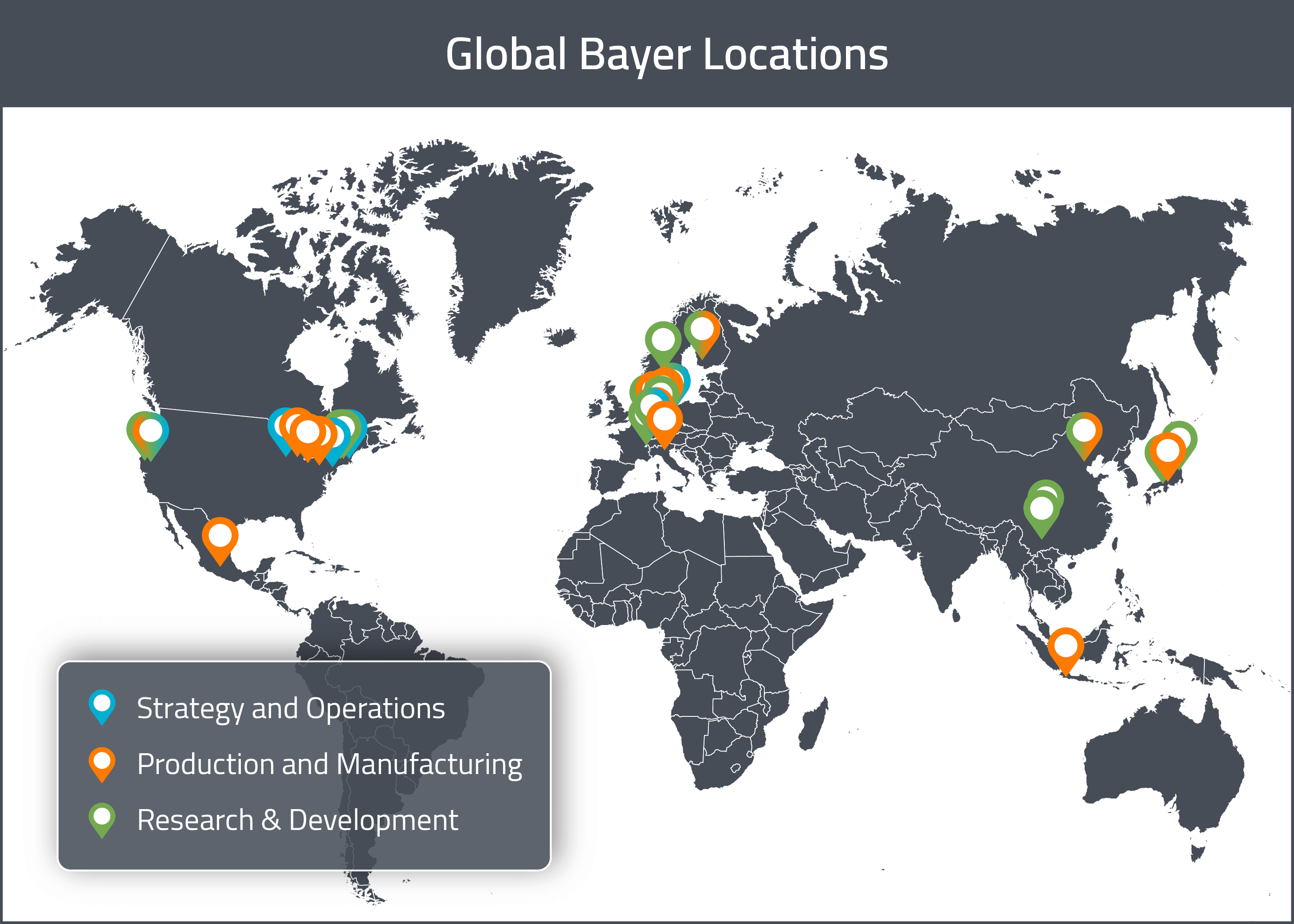 A map of Bayer's Global Drug Development and Manufacturing locations