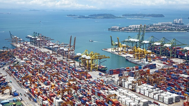 An aerial view of busy shipping port