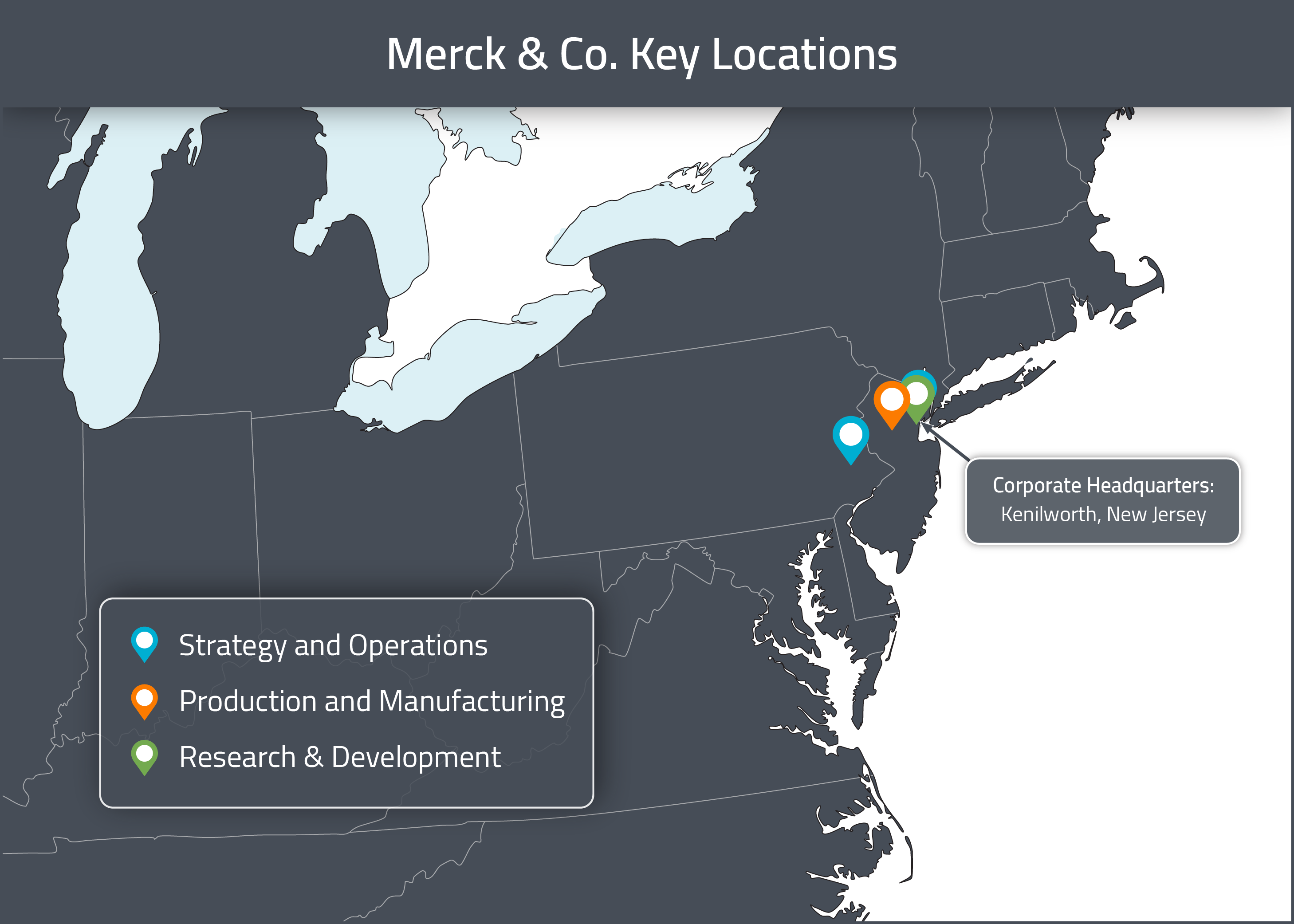 A map of Merck & Co's US Corporate locations
