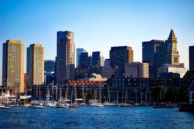 Skyscrapers in Boston along the shore
